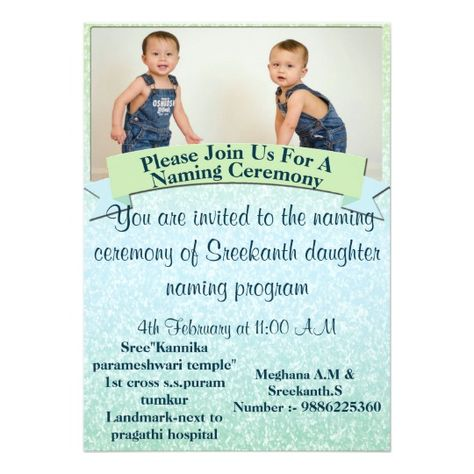 Naming ceremony invite for Baby Paavan Karthik Hi Pinterest - namakarana invitation template in kannada language