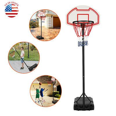 Basketball Hoop Goal Adjustable Stand Backboard Portable Kids Indoor Outdoor New In 2020 Fun Sports Sports Team Basketball Hoop