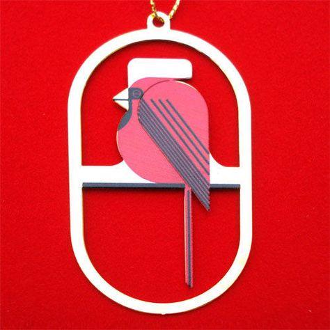 Brass Christmas Ornament Charlie// Charley Harper bird art COOL CARDINAL