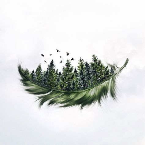 Specializing in surrealism photography, self-taught Photoshop expert Luisa Azevedo creates composite photos straight out of a dream. Natur Tattoos, Kunst Tattoos, Body Art Tattoos, Tatoos, Drawing Tattoos, Cover Up Tattoos, Pine Trees Forest, Forest Tattoos, Skin Art