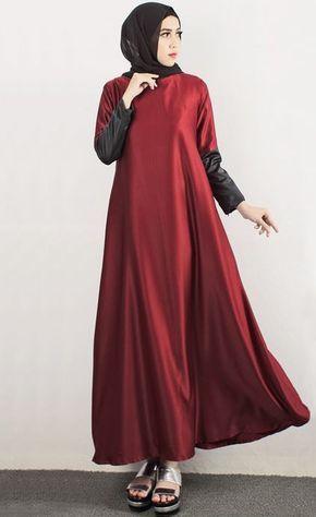Dress Pesta Muslim Merah Marun Yang Simple Hijabs Gaya Abaya