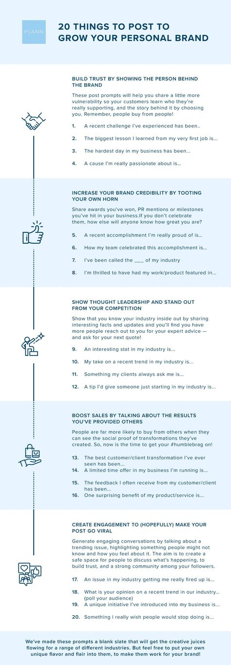 20 Content Ideas For Growing Your Personal Brand - Plann