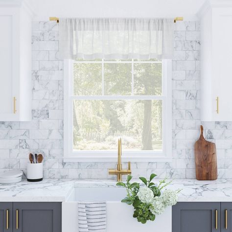 The Slub Textured Linen Blend Cafe Curtain Valance from Archaeo adds textural dimension and cozy style to your kitchen or other small window. The airy weave linen blend fabric with a slub texture gently filters light while enhancing privacy. Rod pocket allows for simple slide-through installation on curtain rods up to 1  in diameter. Sold as individual valances. Coordinating tier pairs or swag pairs are sold separately. Measure carefully before selecting your desired size. Rod not included. Colo Kitchen Backsplash Designs, Home Decor Kitchen, Cafe Window, Kitchen Design, Kitchen Style, Kitchen Curtains, Cafe Curtains, Kitchen Remodel, Kitchen Renovation