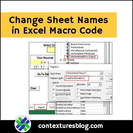 How To Make Minor Changes To Excel Macro Code Excel Macros Excel Coding Excel vba get active worksheet name