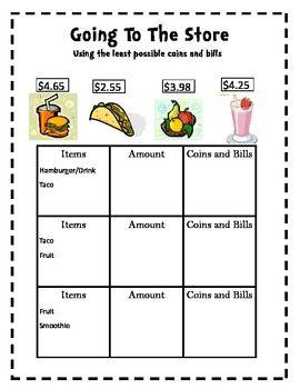 Buy, Sell, & Make Change Money Worksheet- Free! | Math Centers ...