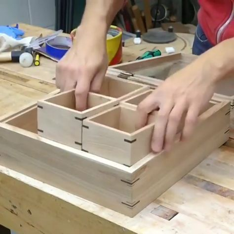 Glass is in and the lid has some hinges. This one is ready for finish!⠀ 👉 Follow @thehomewoodwork for daily woodworking content.