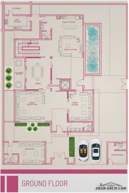 Illoura Villas مخطط الفيلا A حى الملقا شمال الرياض Pool House Plans Drawing House Plans Simple House Plans