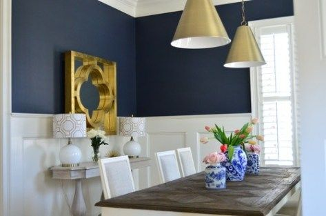 A Navy Wall Above Chair Rail Wainscoting Is Gorgeous This Paint Color Is Lovely And It Looks Great With Dining Room Blue Dining Room Colors White Wainscoting