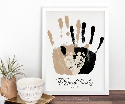 Gift for New Dad, First Father's Day Gift, Baby Footprint & Handprint Art Print, Personalized Family Portrait, inches UNFRAMED - Turnaround time for proofs is currently business days for stock & custom on file orders and - First Fathers Day Gifts, Gifts For New Dads, Dad Gift From Baby, Xmas Gifts, Diy Gifts, Baby Crafts, Crafts For Kids, Toddler Crafts, Art Projects For Adults
