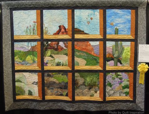 Red Mountain by Audrey Good.  Attic windows landscape.  2014 AZQG, photo by Quilt Inspiration