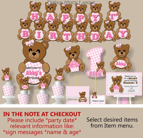 Baby Girl Pink Teddy Bear Baby Shower or First Birthday Party Decorations- Invitation, Favors, Banner, Invites, Centerpiece, Cake