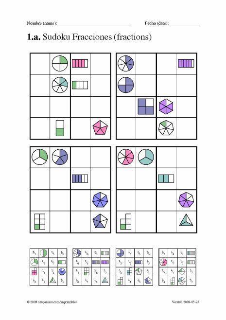 Sudoku Juego Con Fracciones Fracciones Fracciones Juegos Resta De Fracciones