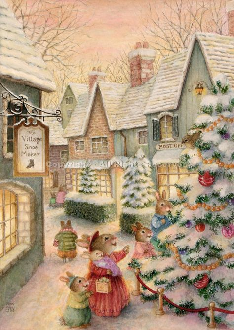 Image detail for -Town With Christmas Tree & Family SOLD Susan Wheeler Gouache • 6 x 4 ...