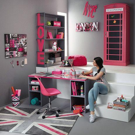 UNION JACK low pile rug in grey / pink 120 x 180cm | Maisons du Monde