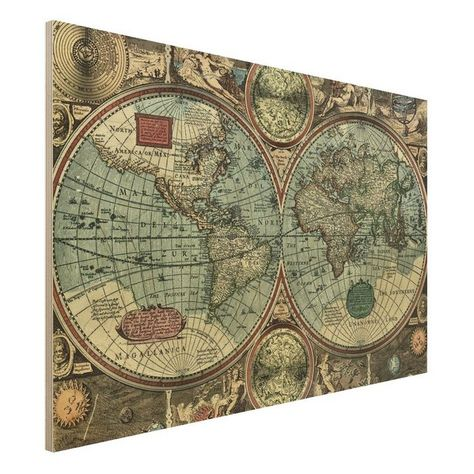 Pinnwand Weltkarte Wandbilder Landkarte Leinwand Bilder xxl Kork k-B-0009-p-b
