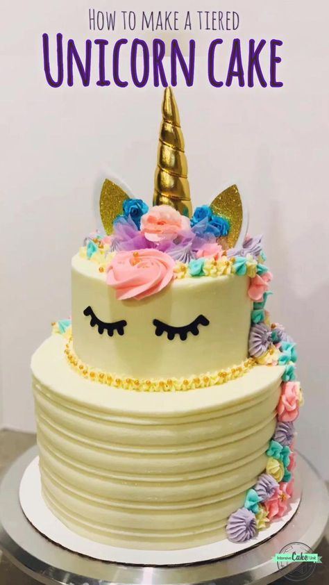 and instructions to make a beautiful trendy Unicorn Cake! Single- and two-tier recipes are both up on !Recipe and instructions to make a beautiful trendy Unicorn Cake! Single- and two-tier recipes are both up on !
