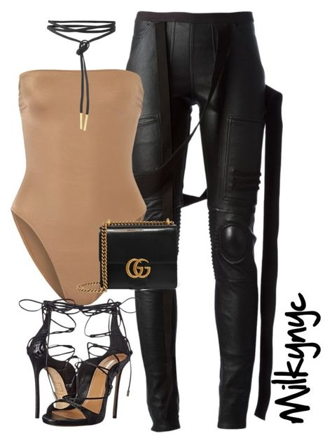 Untitled #838 by mizzbehave on Polyvore featuring polyvore fashion style Rick Owens Norma Kamali Dsquared2 Gucci clothing