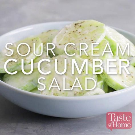 Sour Cream Cucumber Salad Sour Cream Cucumbers Creamed Cucumber Salad Cucumber Salad