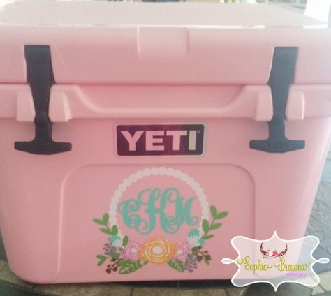 Floral Monogram Decal. Shop Sophie Breanna Designs on Etsy. EtsyShop Custom Vinyl, Vinyl Decal, Vinyl Sticker, Girly YETI, Pink YETI, YETI Skin, Car Decal, Laptop Decal, Wall Decal, Car Decal, YETI Decal