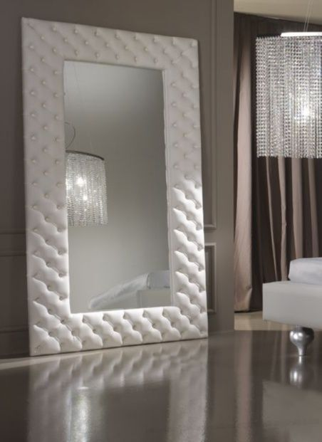 Large Bedroom Mirror White Italian Leather Floor Standing Or Wall Mirror Luxury Furniture Whit Modern Mirror Wall Mirror Wall Bedroom Mirror Design Wall