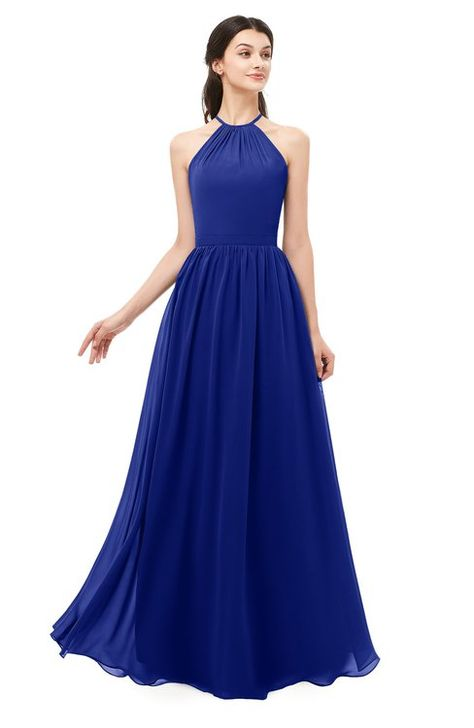 e598dc51118f ColsBM Irene Electric Blue Bridesmaid Dresses Sleeveless Halter Criss-cross  Straps Sexy A-line Sash