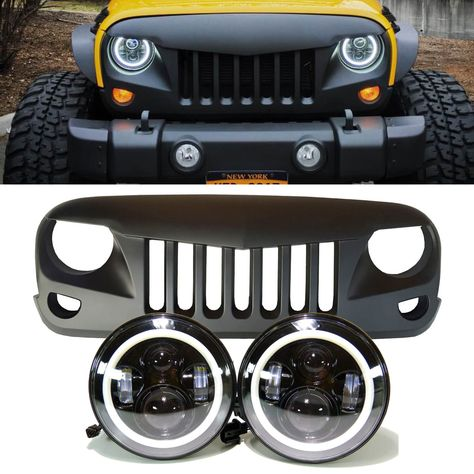 Jeep Jk Projector Headlights Halo Eagle Eye Grille Combo Pack Jeep Grill Jeep Jk Jeep Accessories
