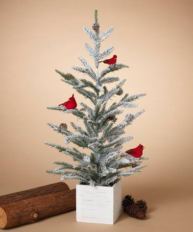 This 30 Wood Box Base Cardinal Holiday Flocked Tree Is Perfect Zulilyfinds Flocked Trees Vintage Inspired Christmas All Things Christmas