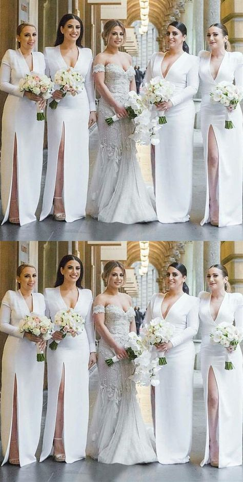 White prom dress V Neck party dress Long Sleeve evening dress Side Slit Satin Long Bridesmaid Dresses, sold by Shop more products from on Storenvy, the home of independent small businesses all over the world.
