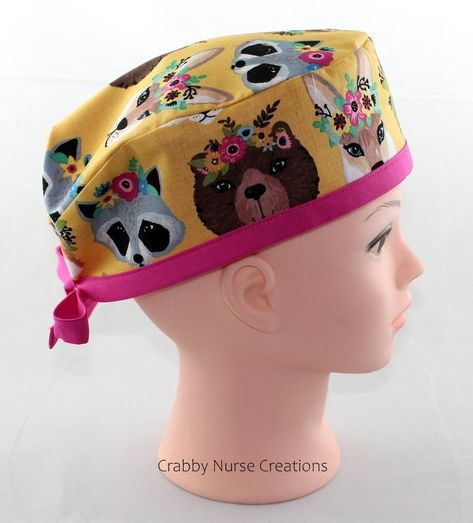 My nursing caps are handmade in my clean home.One size fits all using adjustable elastic with toggle and ribbon ties.Buttons to wear masks.