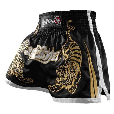 Hayabusa Premium Mens Muay Thai Shorts Black/Gold | Made4Fighters
