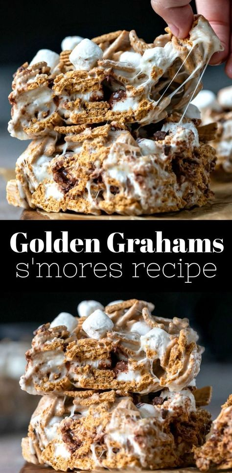 Golden Grahams S'mores Recipe Golden Graham S'mores RecipeYou can find Sweets desserts and more on our website. Dessert Simple, Bon Dessert, Dessert Bars, Dessert Food, Easy Desserts, Dessert Recipes, Sweet Desserts, Recipes Dinner, Good Enough