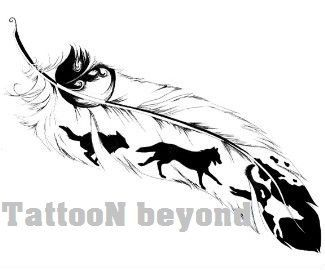 Temporary Tattoo 4 types of Feathers 1/4 sheet by TattooNbeyond