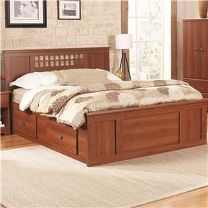 Bayfield Queen Panel Captains Bed By Lang In 2020 Bed Furniture