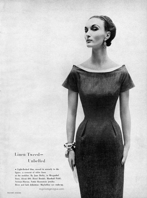 "myvintagevogue: ""Harper's Bazaar January 1954 Evelyn Tripp, photo by Richard Avedon """