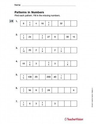 Number Pattern Worksheets 5th Grade Patterns In Numbers Fractions Printable 5th Grade Number Patterns Worksheets Pattern Worksheet First Grade Math Worksheets 5th grade patterns worksheet