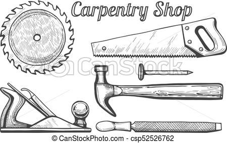 Carpentry Shop Icons Vector Stock Illustration Royalty Free Illustrations Stock Clip Art Icon Stock Clipart Icons Logo Shop Icon Poster Drawing Art Icon