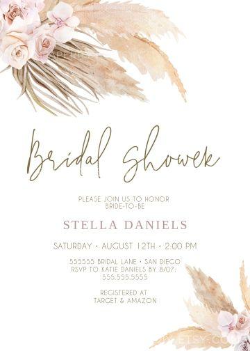 Pampas Grass Bridal Shower Invitation Bohemian Instant Download Template Boho Invites Desert Digital Templett Bohemian Bridal Shower Boho Bridal Shower Boho Invitations