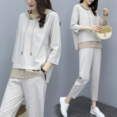 6.04US $ 38% OFF|Women's Autumn And Winter Suit Korean Style Loose Large Size Two piece Suit Clothes Cropped Sleeve Hooded And Pants Tracksuit|Pant Suits|   - AliExpress