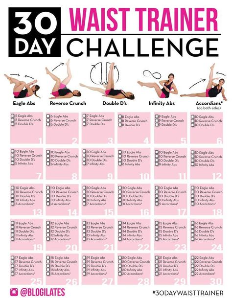 Join the 30 Day Waist Trainer Challenge!! If you want a tighter waist and if you want to create a natural hourglass figure, then you don't need to buy a waist trainer...just do these 5 moves! Print out this challenge now! It's only 30 days and so easy to start! www.blogilates.com