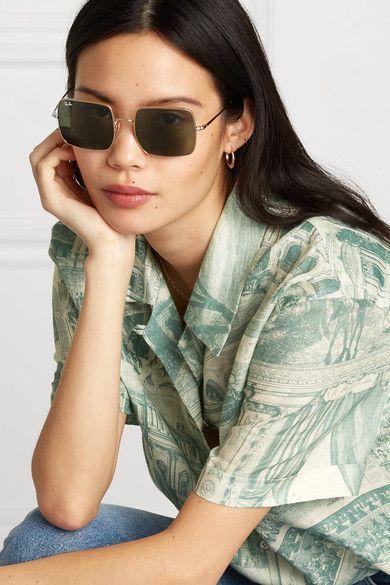 Dore Lunettes De Soleil Carrees Dorees Ray Ban Sunglasses Ray Bans Fashion Frames