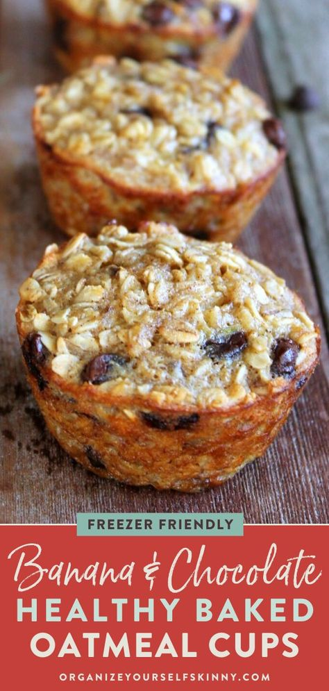 Recipes Clean Eating Looking for a healthy, clean eating approved meal prep breakfast for the week? These banana & chocolate chip baked oatmeal cups are low carb, perfect for on the go, protein-filled & easy to make! Organize Yourself Skinny Healthy Banana Recipes, Healthy Breakfast Recipes, Healthy Baking, Oatmeal Breakfast Recipes, Healthy Breakfasts, Brownie Desserts, Mini Desserts, Dessert Recipes, Baked Oatmeal Cups