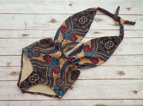 Swimsuit High Waisted Vintage Style One Piece Retro Pin-up Swimming Costume - Pretty Paisley Floral Print Bathing Suit Swimwear - So Cute!