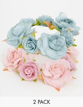 New Look - Lot de 2 élastiques pour cheveux ornés de fleurs oversize