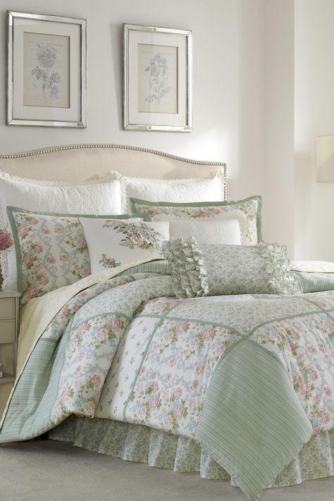 Laura Ashley Harper Floral 3 Piece Comforter Set Blue Bed Bath Room