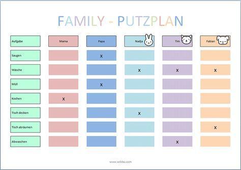 Putzplan Vorlage Kinder Haushaltsplan Vorlage Planer Haushaltsplaner