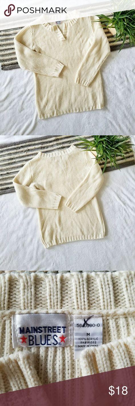 cream VTG Oversized Chunky Sweater...