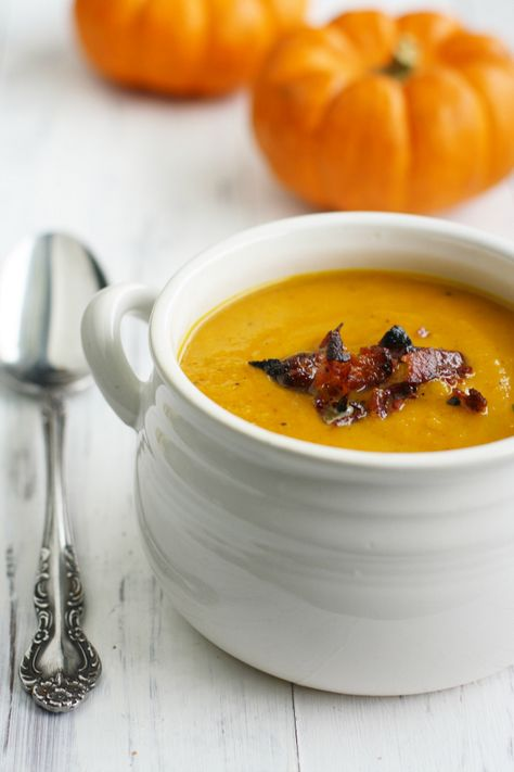 Butternut Squash and Apple Soup with Bacon.
