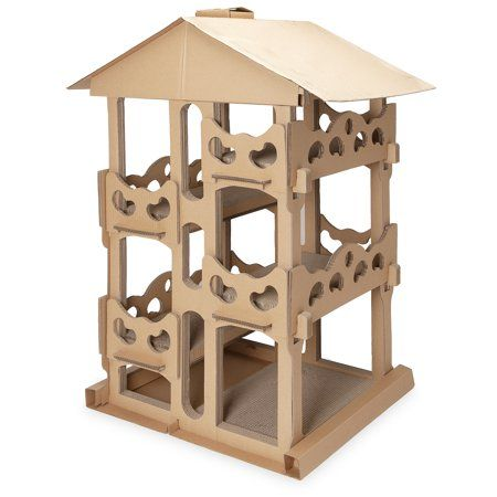 Furhaven Pet Cat Scratcher Tower Playground Corrugated Cat Scratcher House With Catnip Cardboard Brown Walmart Com Cardboard Cat House Cat Scratcher Furhaven