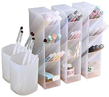 5 Pcs Desk Organizer Pen Organizer Storage For Office School Home Supplies Translucent White Pen Stora Work Desk Organization Desk Organization Pen Storage