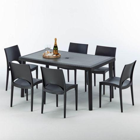 Tavoli E Sedie In Rattan Prezzi.Tavolo Rettangolare Con 6 Sedie Rattan Sintetico Polyrattan